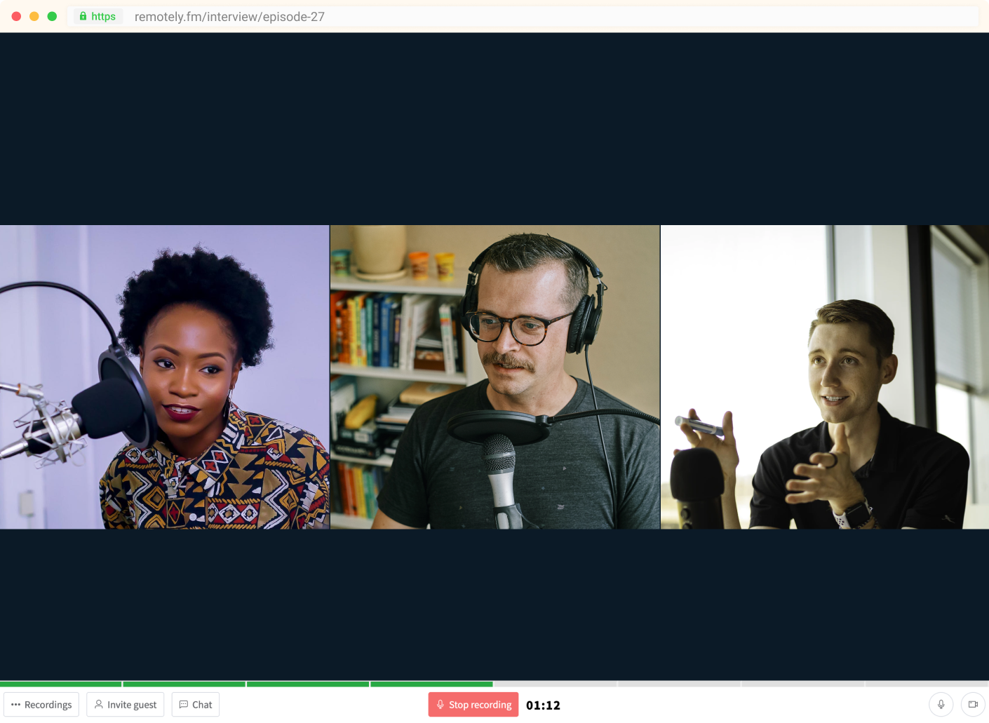 Showcase of the remote interview recording platform